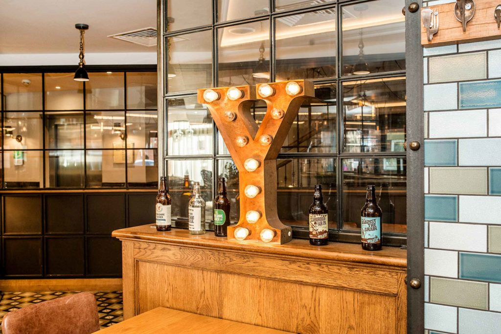Big letter Y in bar