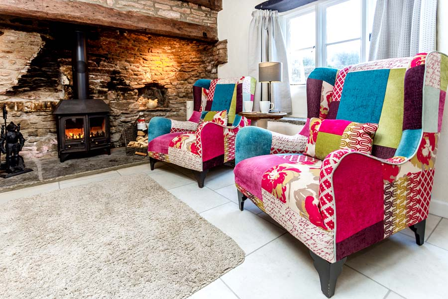 colourful chairs and fire