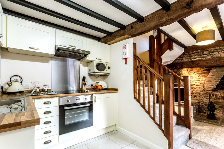 small kitchen and stairs