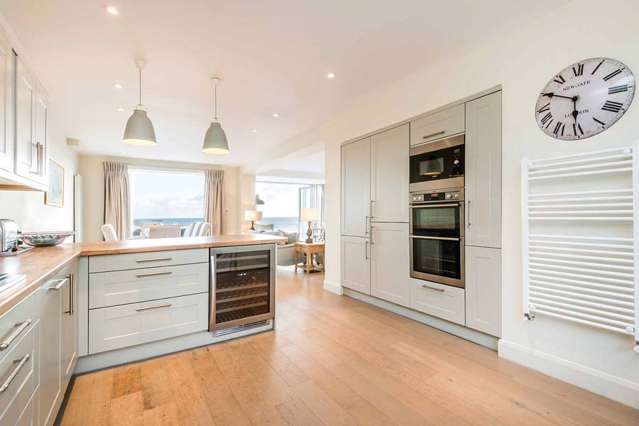 kitchen with sea views and clock