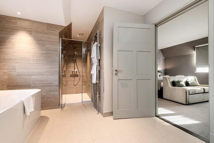 Luxury hotel room and en-suite bathroom