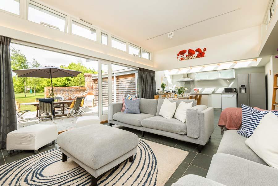 sofas set with views into the garden
