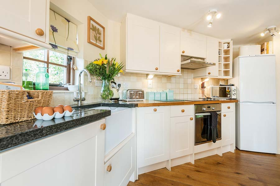 kitchen with fresh flowers and eggs