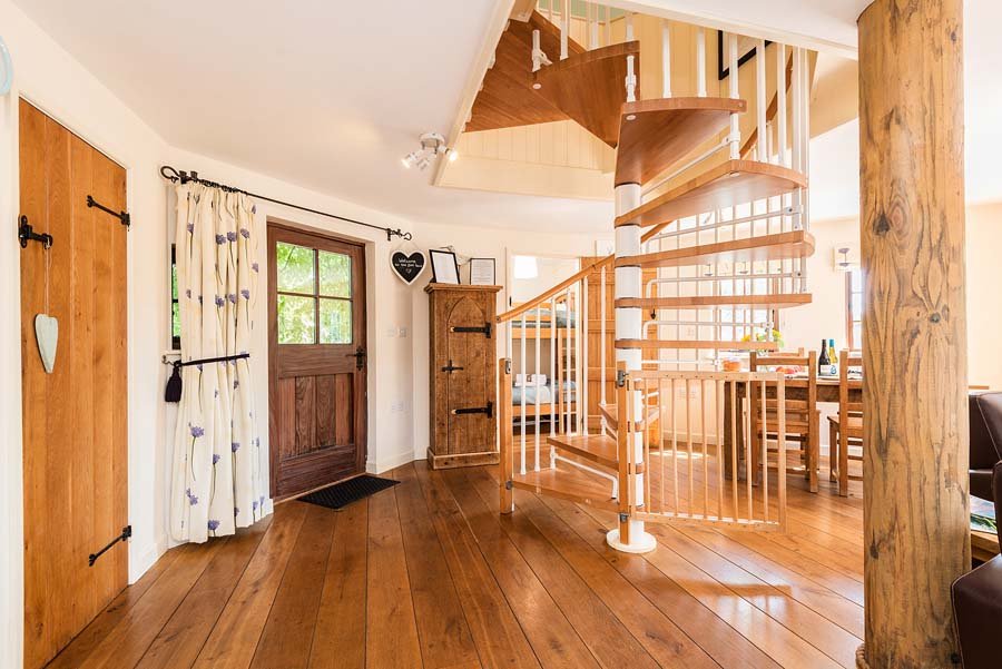 spiral stairs and front door to tree house